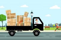Lieferwagen mit Paketen