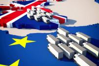 Brexit wartende Lkw Grenze