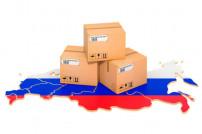 Pakete auf Russlandkarte