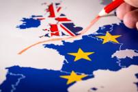 Großbritannien abgetrennt von EU auf Karte