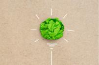 Glühbirne aus grünem Papier