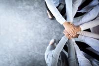 Geschäftsleute tüfteln Plan aus und halten Hände zusammen