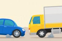 Kollisionskurs blaues Auto und gelber Lieferwagen