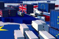Handel zwischen Großbritannien und EU  Lastkraftwagen und Container