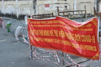 Ho Chi Minh City, Gehweg gesperrt wegen der Covid-19