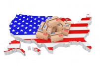 USA Umriss Staat mit Paketen drauf